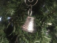 Antique Silver Cast Iron Bell Christmas Ornament 4