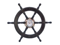 Deluxe Class Wood and Chrome Pirate Ship Wheel Clock 24 picture