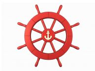 Red Ship Wheel with Anchor 18