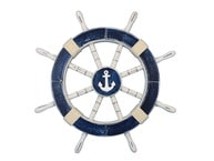 Rustic Dark Blue Ship Wheel with Anchor 18