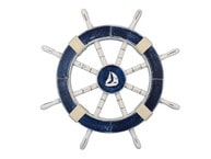 Rustic Dark Blue Ship Wheel with Sailboat 18