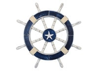 Rustic Dark Blue Ship Wheel with Starfish 18