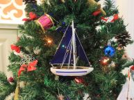 Blue Sailboat with Blue Sails Christmas Tree Ornament 9