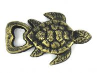 Antique Gold Cast Iron Turtle Bottle Opener 4.5