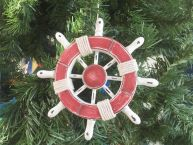 Rustic Red and White Decorative Ship Wheel Christmas Tree Ornament 6