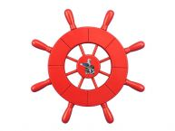 Red Decorative Ship Wheel With Seagull 9