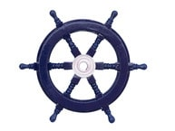 Deluxe Class Dark Blue Wood and Chrome Ship Steering Wheel 12