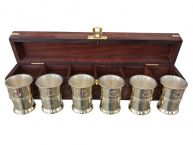 Brass and Copper Anchor Shot Glasses - Set of 6  w- Rosewood Box 12
