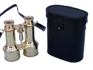 Commanders Brass Binoculars with Leather Case 6