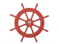 Rustic Red Decorative Ship Wheel With Palm Tree 18