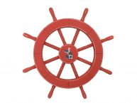 Rustic Red Decorative Ship Wheel With Seagull 18 picture