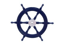 Deluxe Class Dark Blue Wood and Chrome Ship Steering Wheel 24