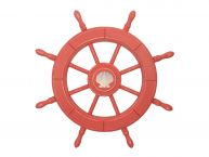 Rustic Red Wood Finish Decorative Ship Wheel With Seashell 24