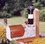 Tybee Island Solar Powered Wooden Lighthouse Mailbox 36