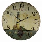 Wooden Vintage Lighthouse Sea Shore Clock 23