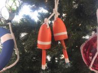 Wooden Orange Decorative Maine Lobster Trap Buoy Christmas Ornament 7
