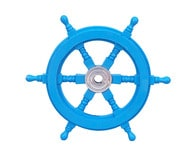Deluxe Class Light Blue Wood and Chrome Ship Steering Wheel 12