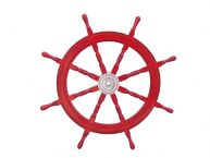 Deluxe Class Dark Red Wood and Chrome Ship Steering Wheel 36