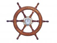 Deluxe Class Wood And Brass Ship Wheel Clock 24 picture
