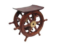 Wood and Brass Ship Wheel Table 18