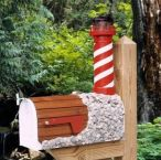 White Shoal Solar Powered Wooden Lighthouse Mailbox 36