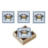 Ceramic Crab Coasters w- Holder - Set of 4